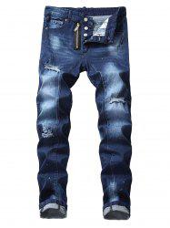 Zip Fly Destroyed Cuffed Jeans -