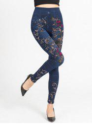 Rose Print High Waist Leggings -