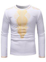 African Style Printed Crew Neck Long Sleeve T-shirt -