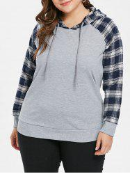 Raglan Sleeve Plaid Panel Plus Size Hoodie -