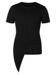 Asymmetric Round Neck Short Sleeve Top -