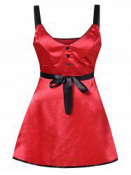 Plus Size Two Tone Lingerie Button Dress -