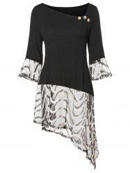 Skew Neck Flounced Asymmetrical Plus Size T-shirt -
