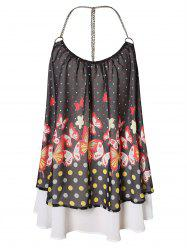 Butterfly Print Overlay Chain T Back Plus Size Tank Top -