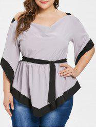 Two Tone Plus Size Belted Open Shoulder Blouse -