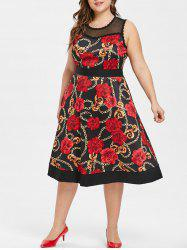 Plus Size Floral Print Sleeveless Vintage Dress -