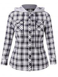 Plus Size Plaid Hooded Shirt with Pockets -