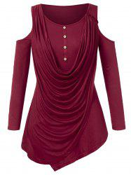 Plus Size Cowl Overlay Open Shoulder T-shirt -
