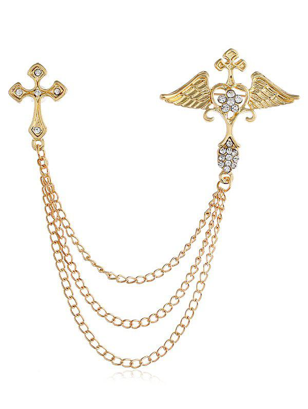 Outfit Metal Hollowed Cross Wings Heart Rhinestone Brooch