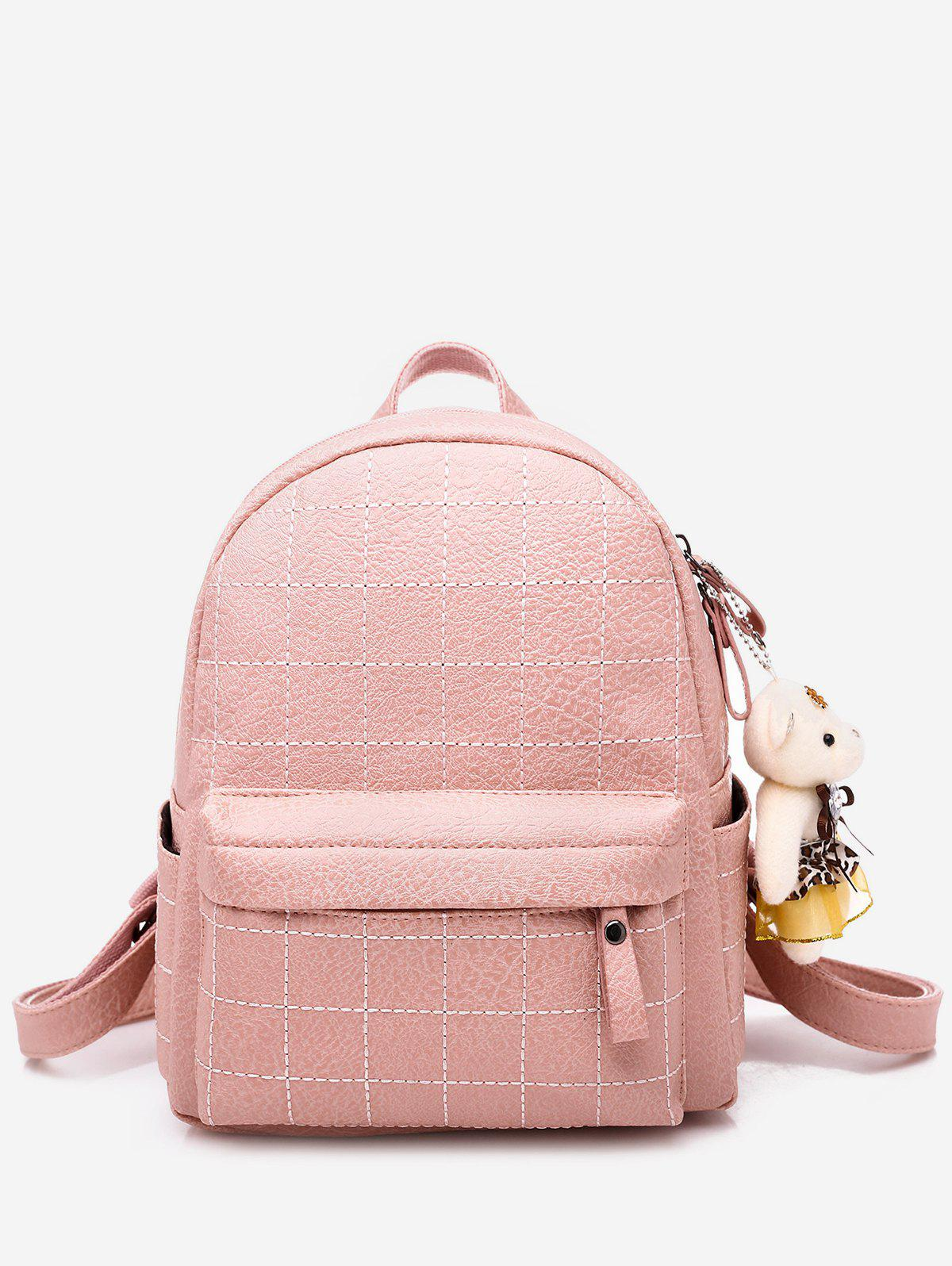 Discount College Style Bear Doll Pendant PU Backpack