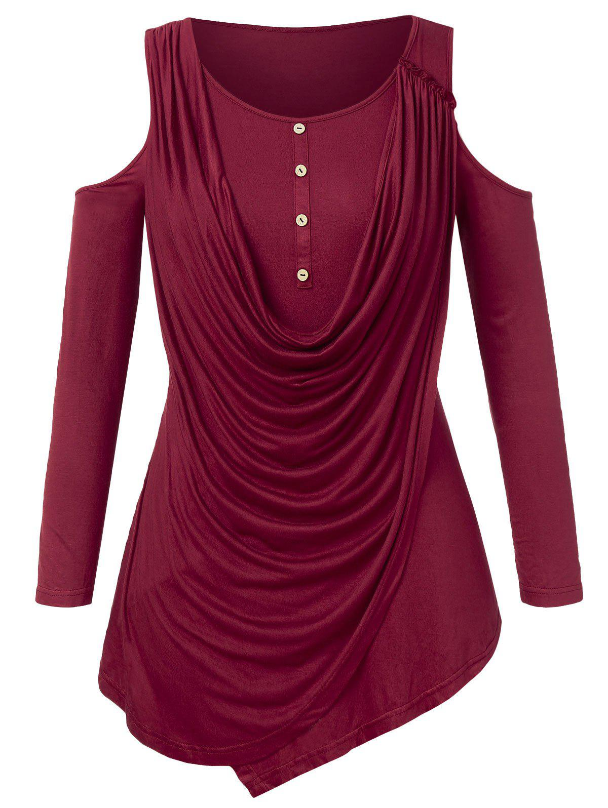 Outfits Plus Size Cowl Overlay Open Shoulder T-shirt