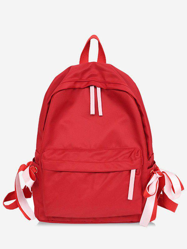 Outfit Contrast Ribbon Decor Detail Nylon Casual Backpack