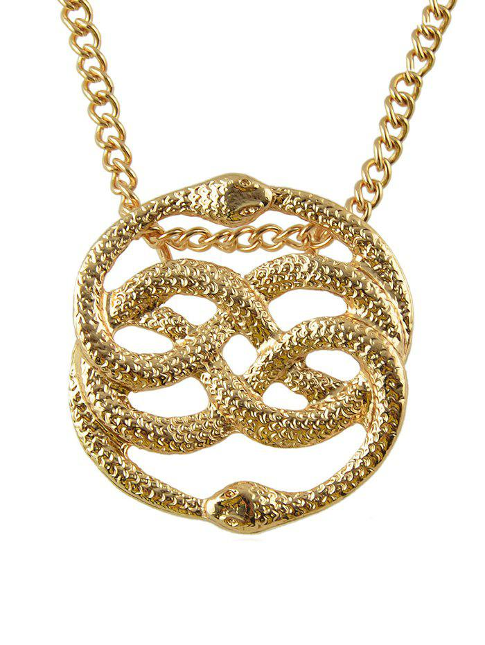 Outfits Double Snake Shape Hollowed Metal Necklace