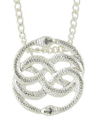 Online Double Snake Shape Hollowed Metal Necklace