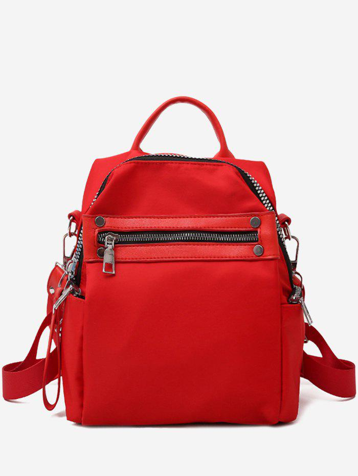Discount Solid Zipper Backpack with Rivets