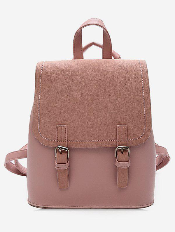 Outfit Color Block Double Hasp PU Backpack