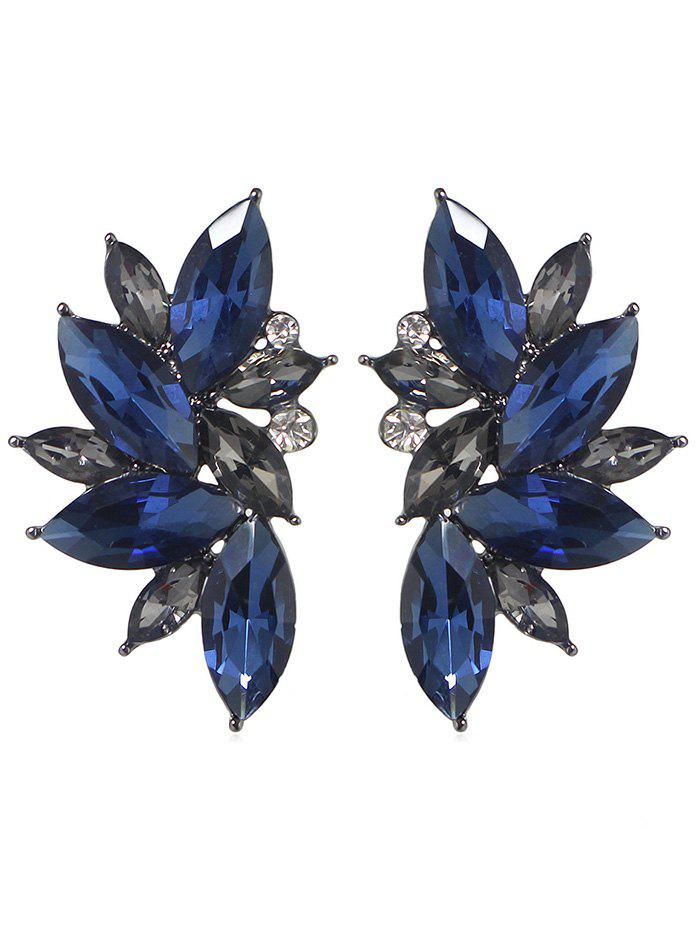 Sale Faux Gem Flower Shape Rhinestone Stud Earrings