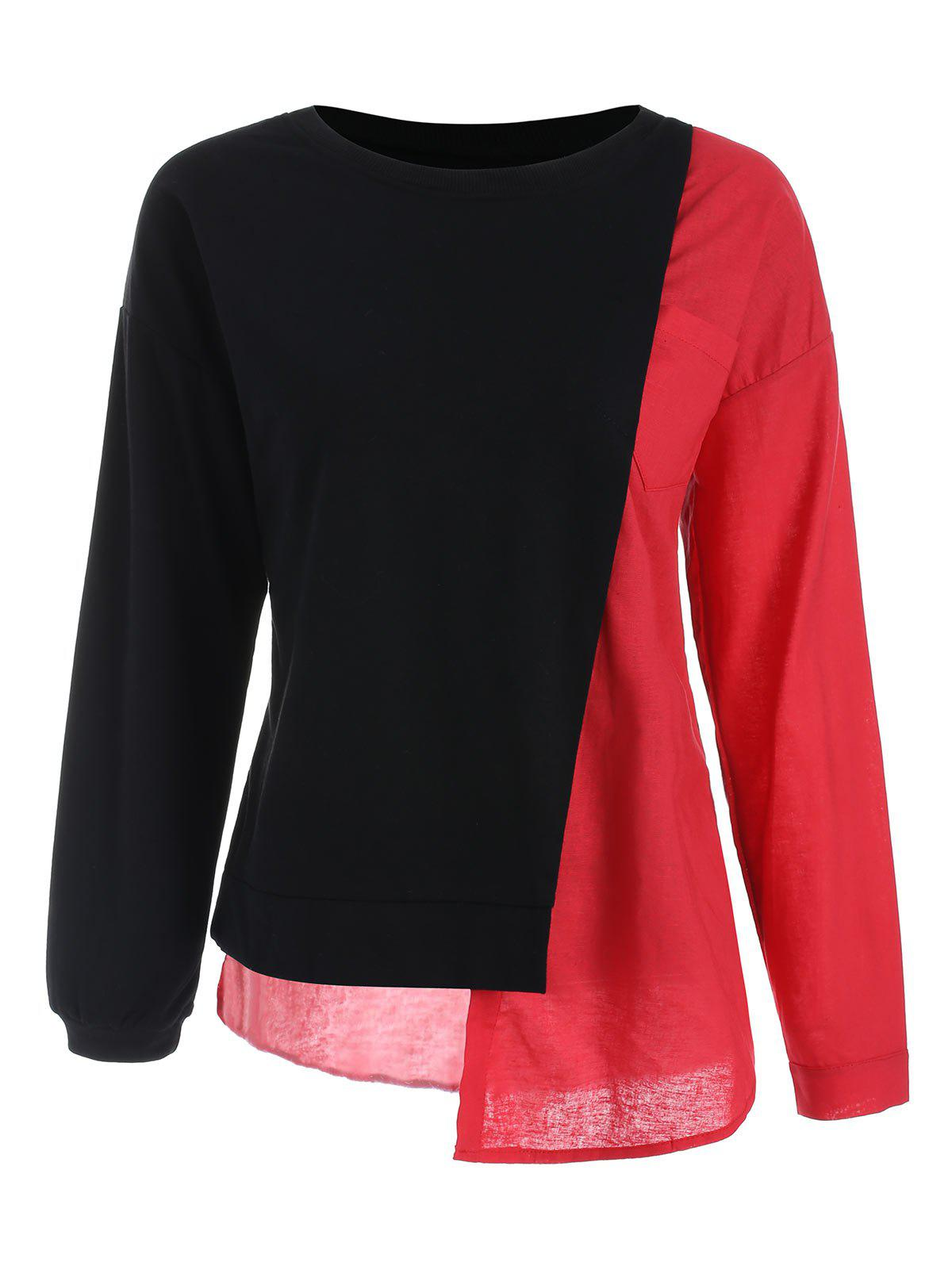 Trendy Pocket Asymmetric Contrast Sweatshirt