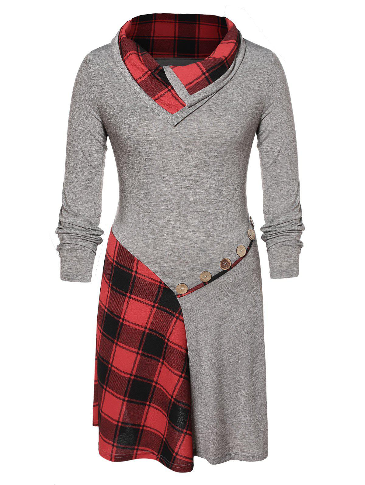 New Plus Size Plaid Patchwork Buttons Funnel Collar Dress