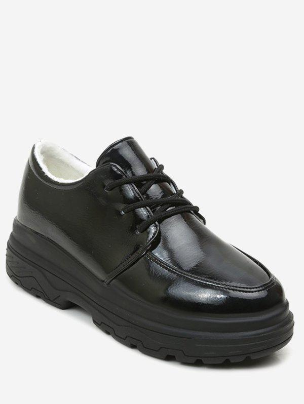 Sale Patent Leather Lacing Platform Sneakers