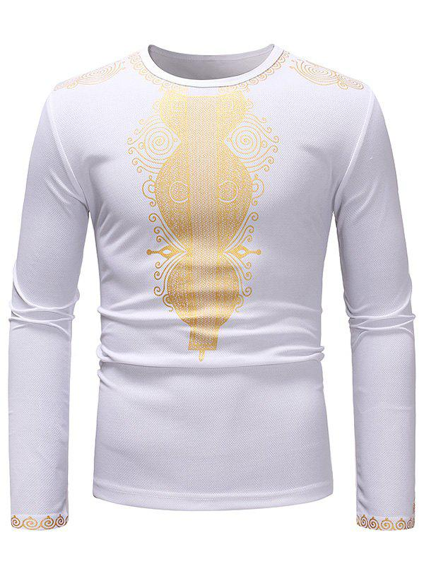 Cheap African Style Printed Crew Neck Long Sleeve T-shirt