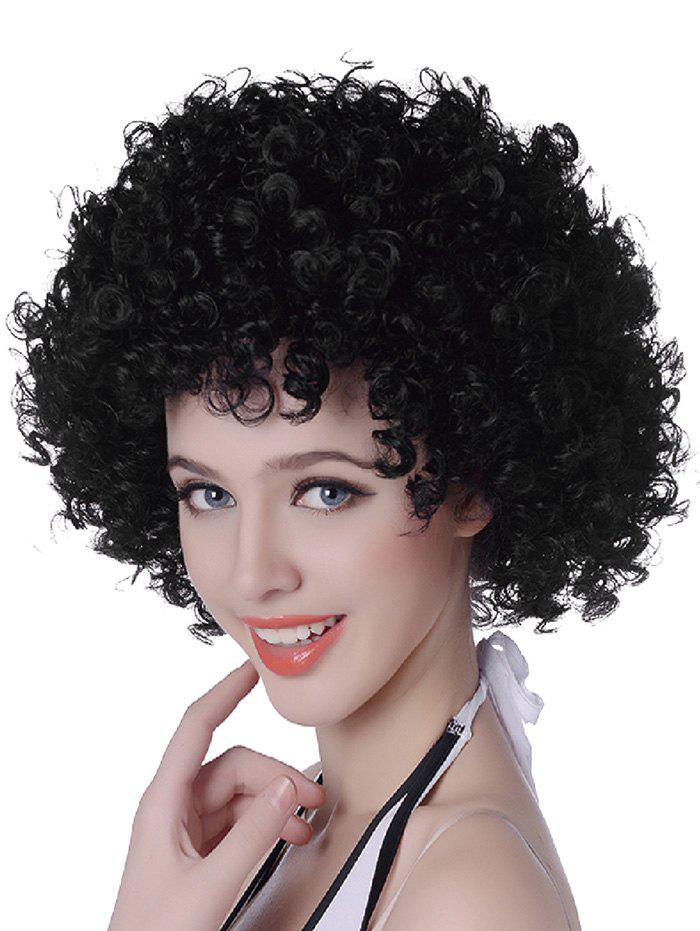 Short Fluffy Afro Curly Capless Party Synthetic