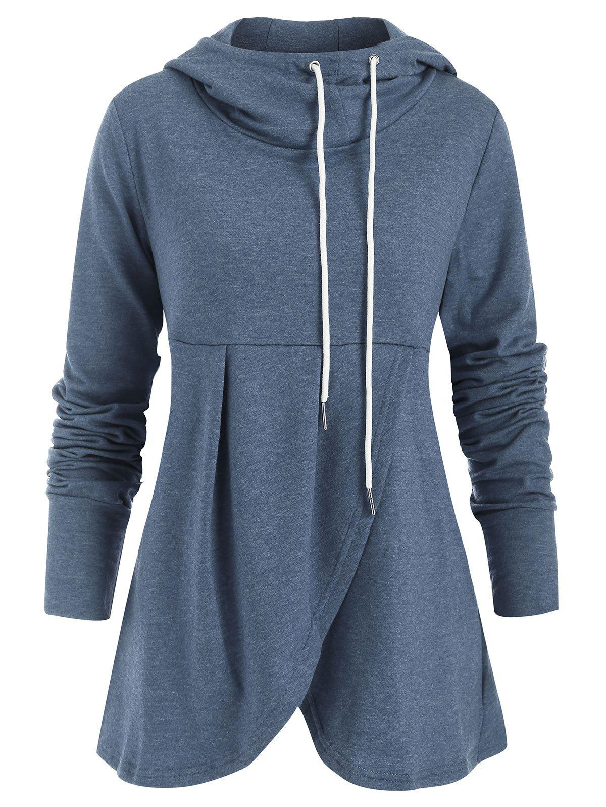 Outfit Drawstring Crossover Pullover Hoodie