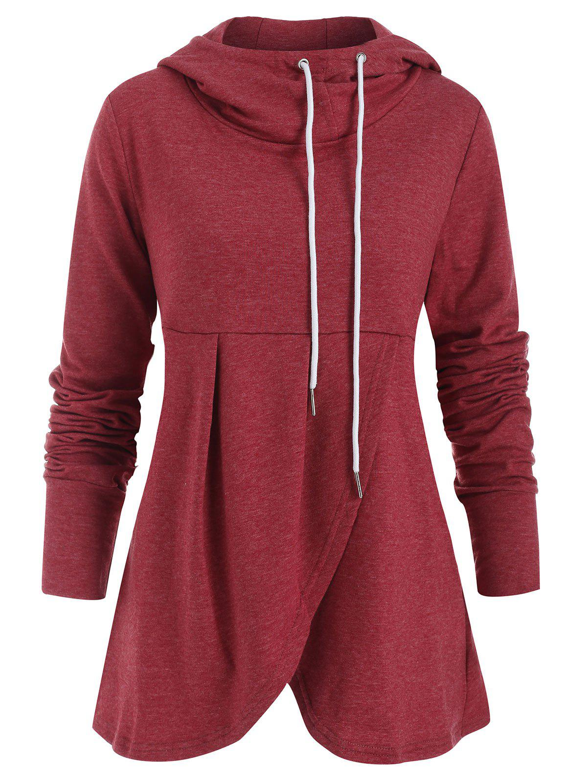 Chic Drawstring Crossover Pullover Hoodie