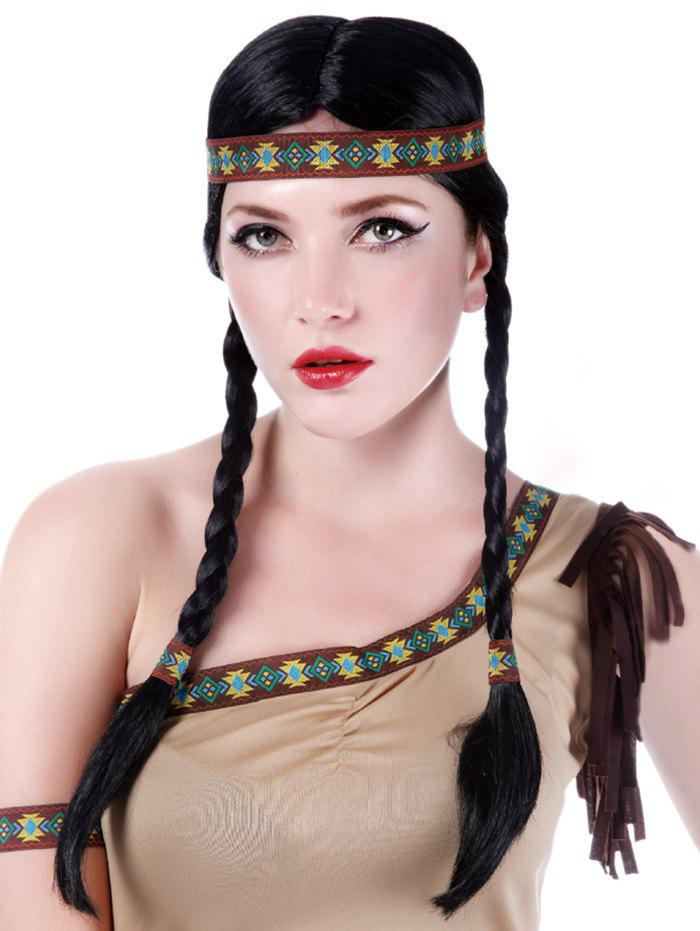 Best Long Center Parting Braids Synthetic Native American Hairstyle Wig