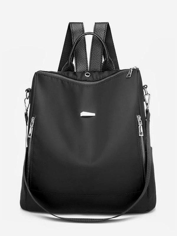 Outfits PU Panel Multiple Zipper Backpack