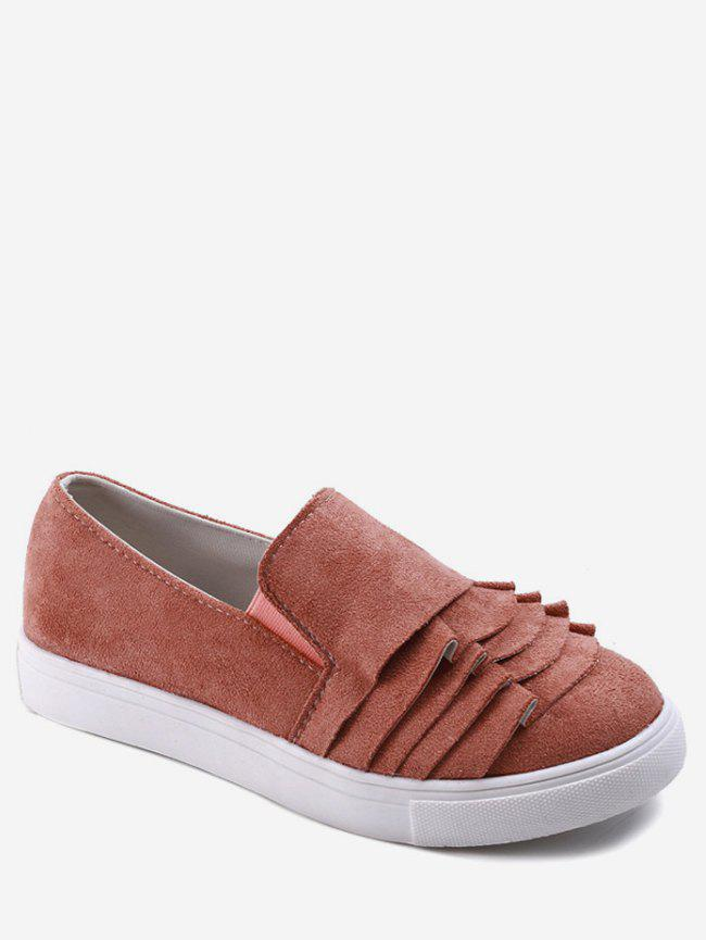 Store Ruffles Detail Canvas Slip On Flats