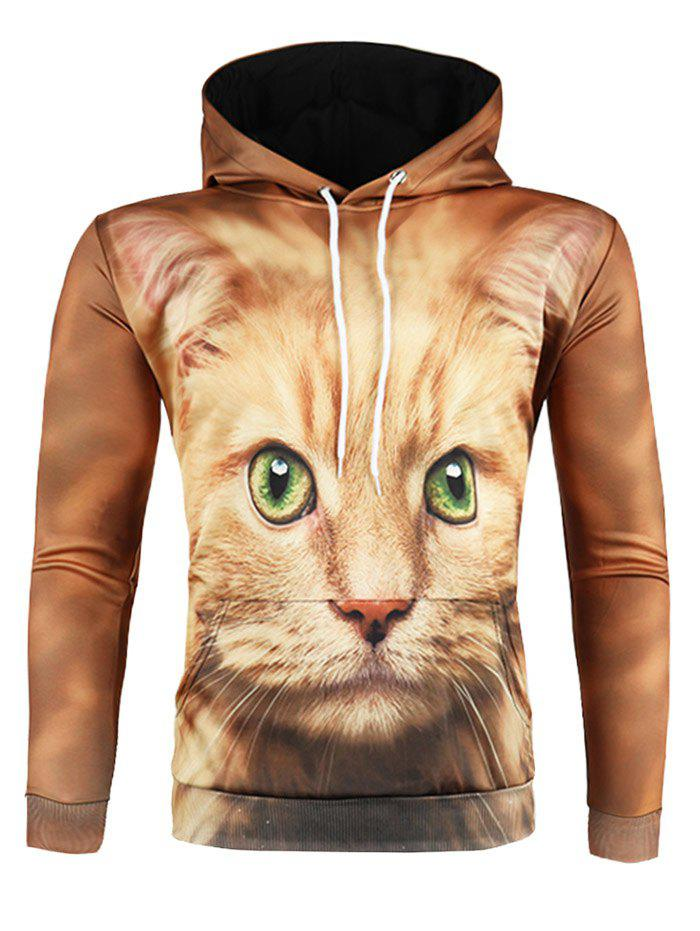 Outfits 3D Cat Print Pullover Drawstring Hoodie