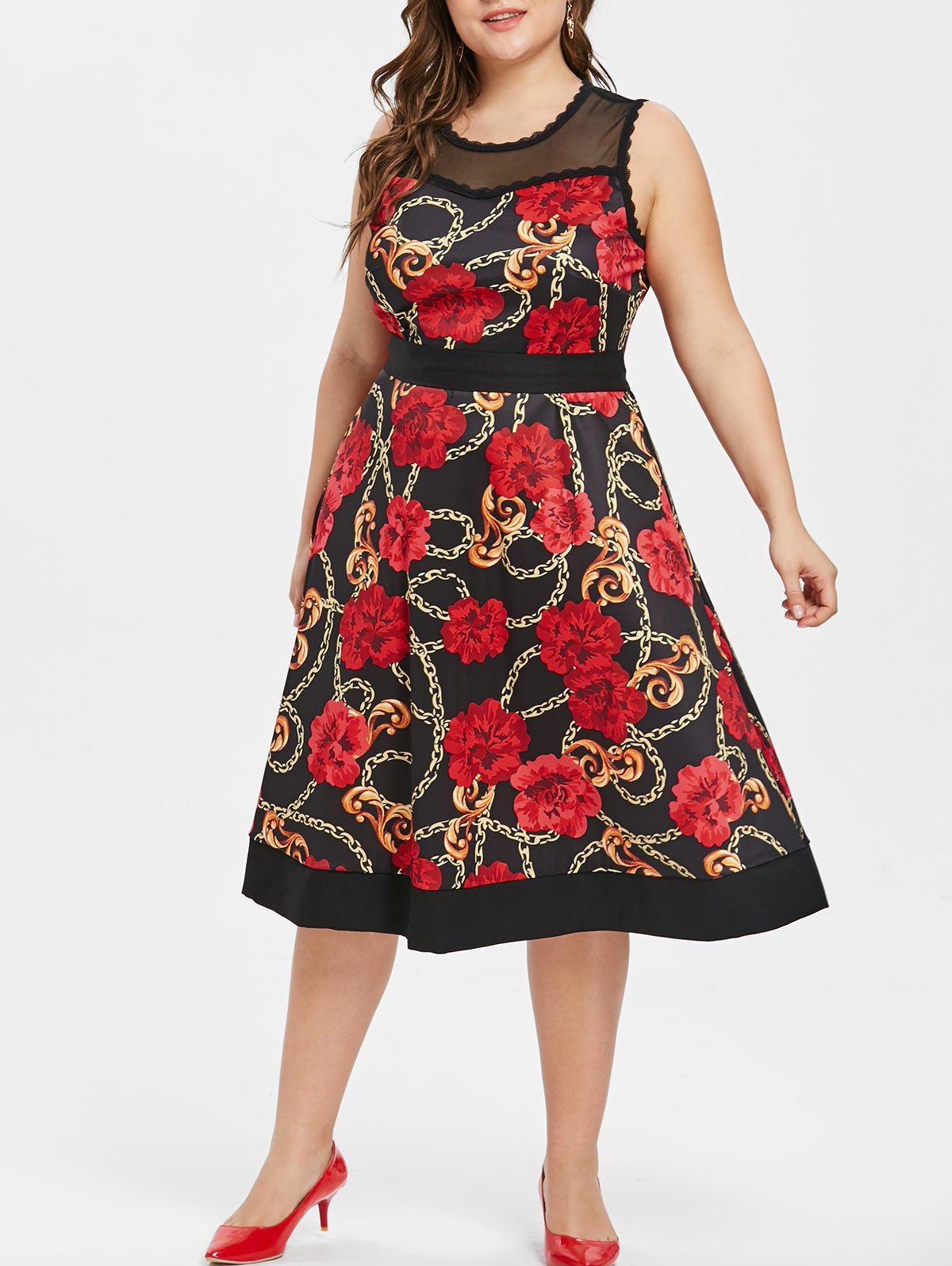 Best Plus Size Floral Print Sleeveless Vintage Dress