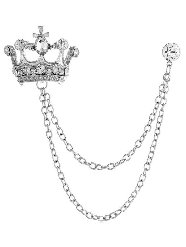 Outfit Rhinestone Crown Chain Brooch