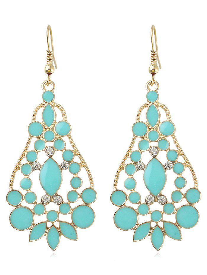 Chic Pear Shape Rhinestone Hollowed Drop Earrings