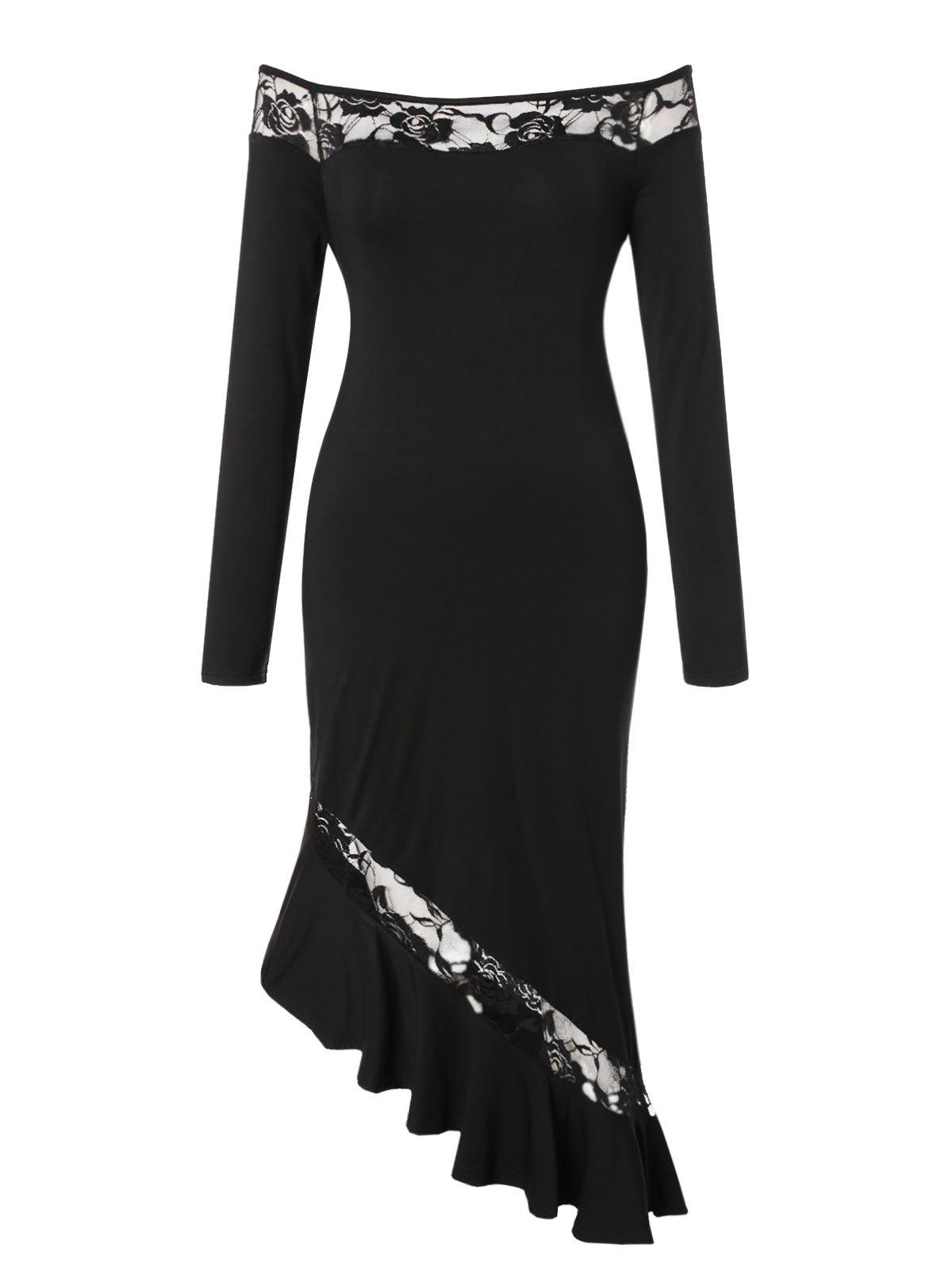 Affordable Plus Size Off Shoulder Flounced Asymmetrical Bodycon Dress