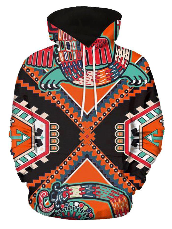 Unique Tribal 3D Geometry Print Pullover Hoodie
