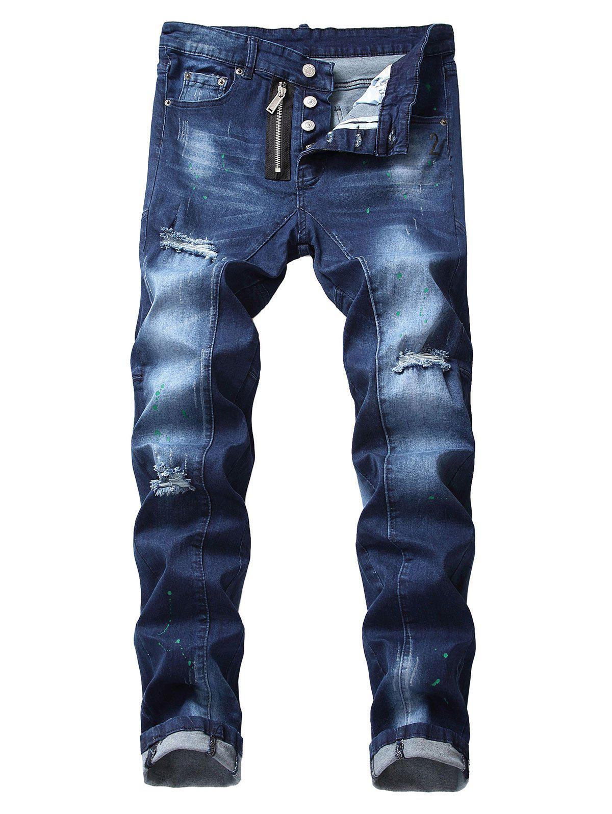 Hot Zip Fly Destroyed Cuffed Jeans