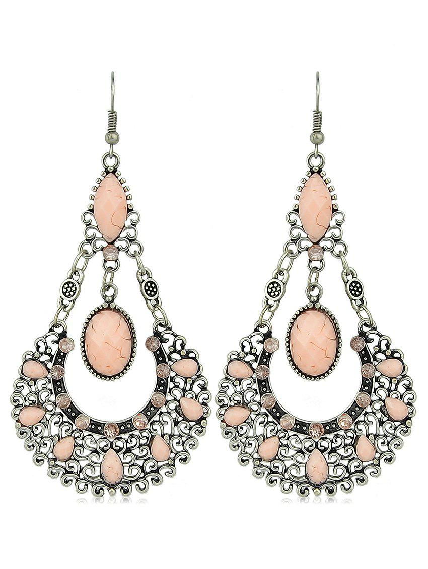 Fashion Water Drop Shape Faux Gem Hollowed Drop Earrings