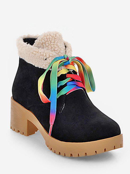 Trendy Plus Size Colorful Lace Fuzzy Decor Ankle Boots