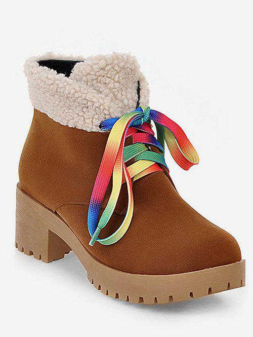 Cheap Plus Size Colorful Lace Fuzzy Decor Ankle Boots