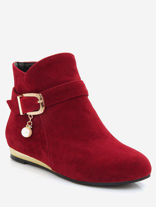 Chic Plus Size Faux Pearl Buckle Detail Ankle Boots