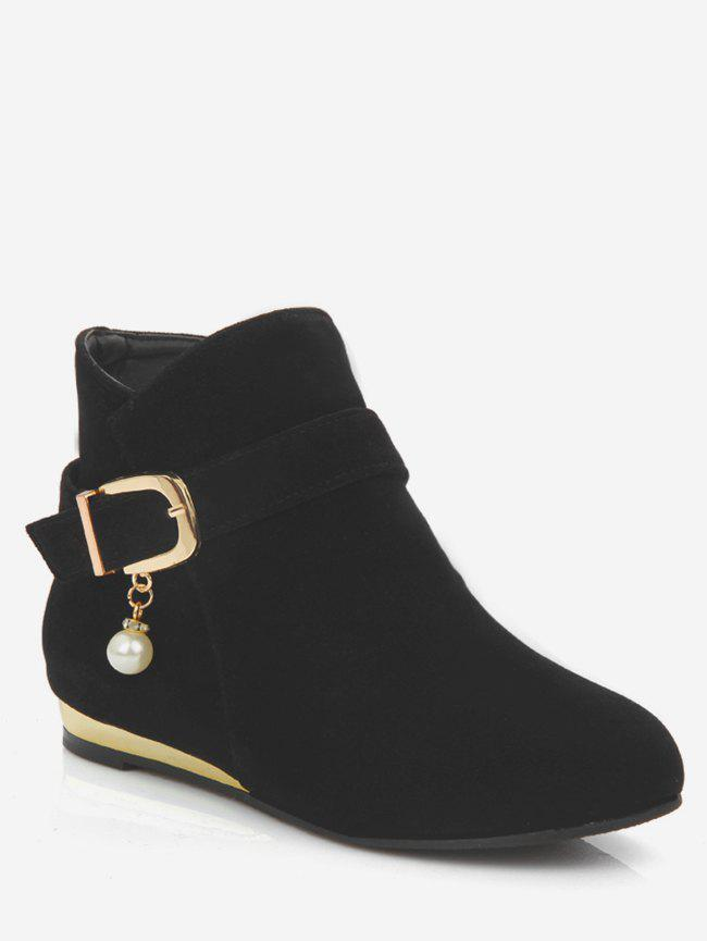Best Plus Size Faux Pearl Buckle Detail Ankle Boots