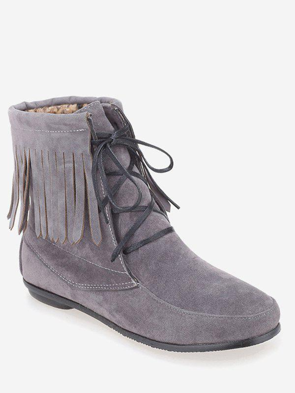 Affordable Plus Size Fringe Hem Suede Mid Calf Boots