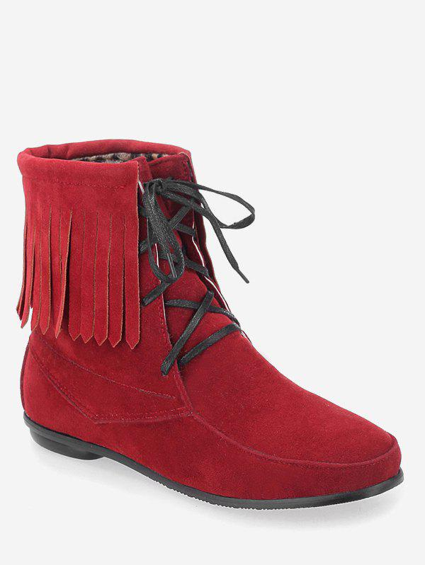 Outfit Plus Size Fringe Hem Suede Mid Calf Boots