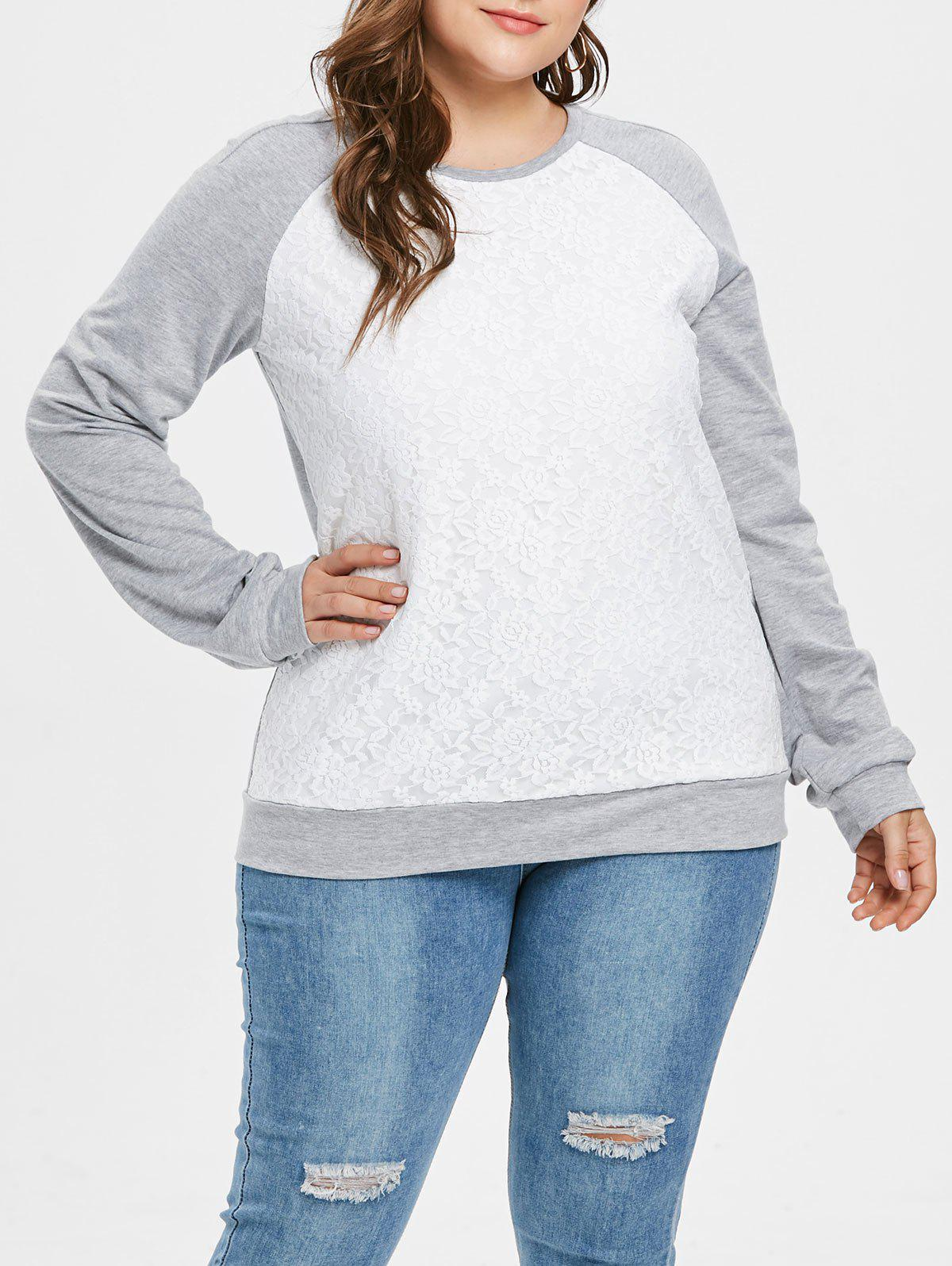 Chic Plus Size Two Tone Pullover Sweatshirt with Lace