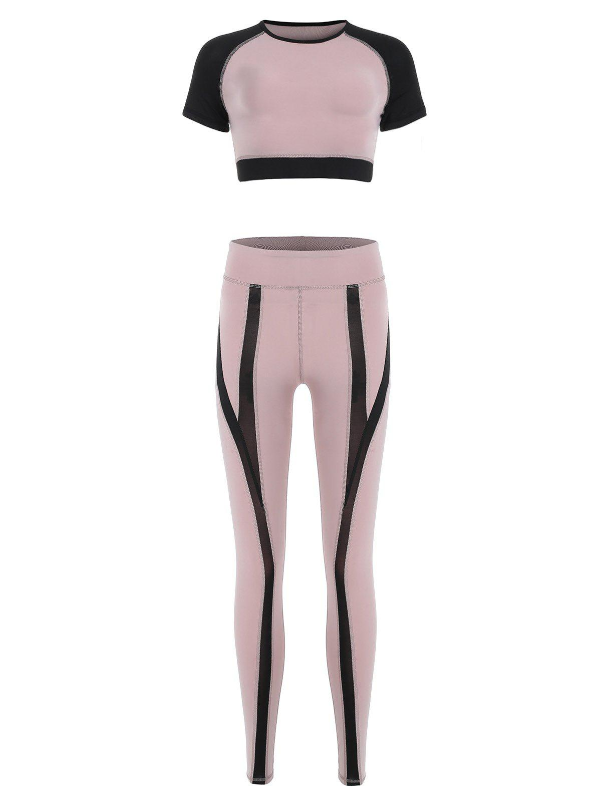 Fashion Contrast Sports Leggings with Crop Top