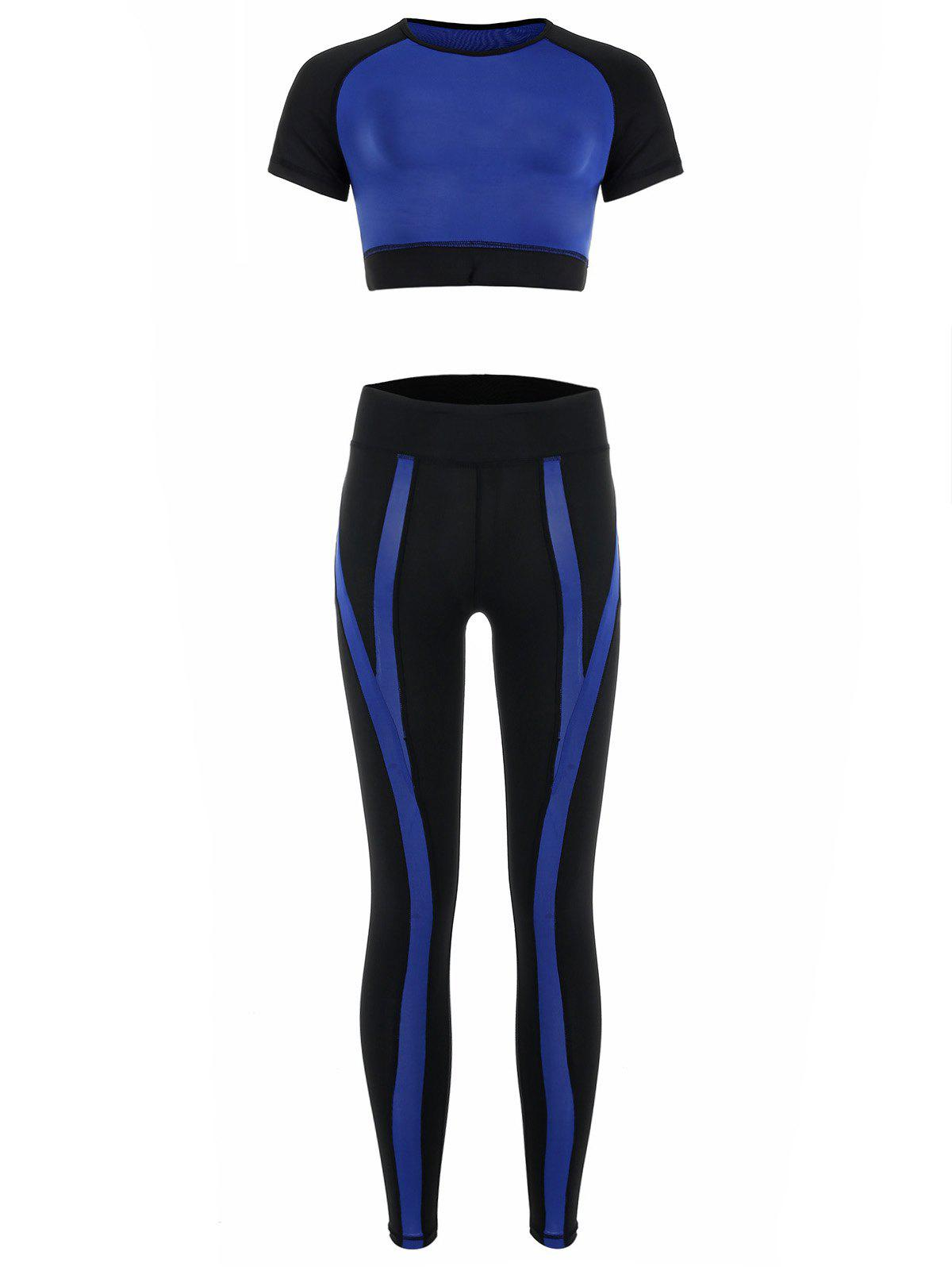 Outfit Contrast Sports Leggings with Crop Top