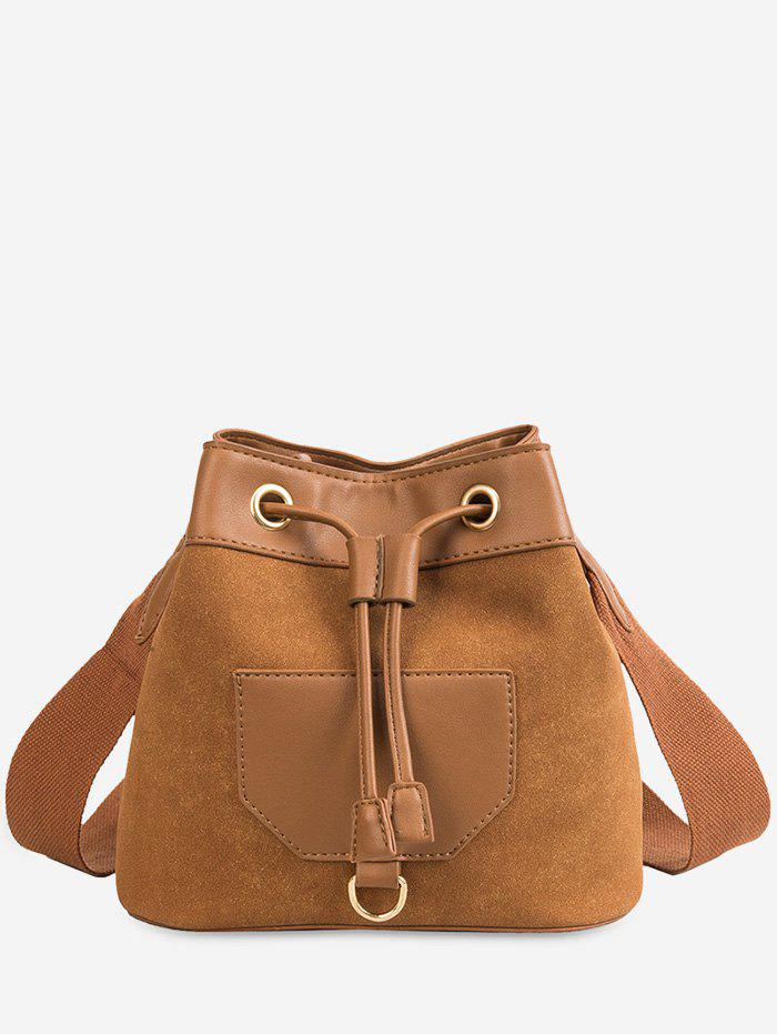 Latest Wide Belt Dull Polish Bucket Bag