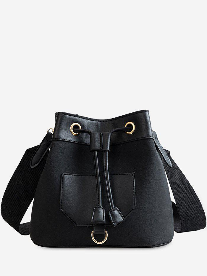 Outfit Wide Belt Dull Polish Bucket Bag